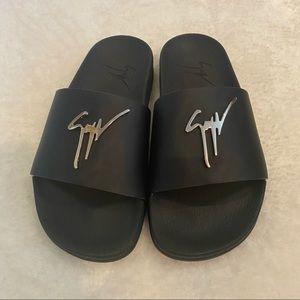 Giuseppe Zanotti Black Leather Logo Sandals Size 5